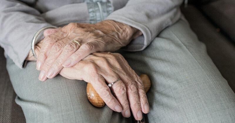 Seniorin mit Gehilfe. Foto: Sabine van Erp Pixabay