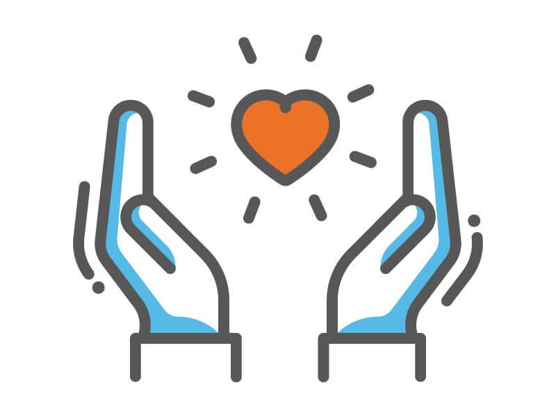"""Icon """"Ehrenamt"""": 2 Hände, die ein Herz umschließen"""
