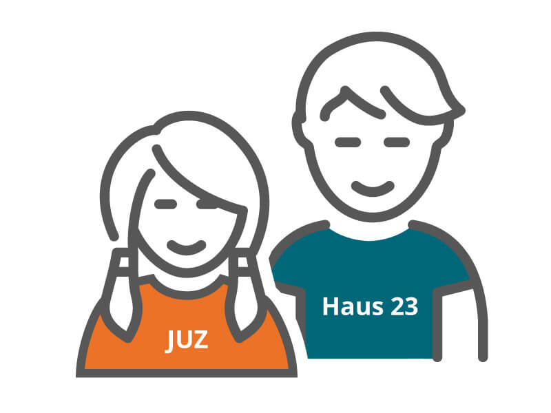 """Icon """"Jugendtreffs"""": Mädchen und Junge"""