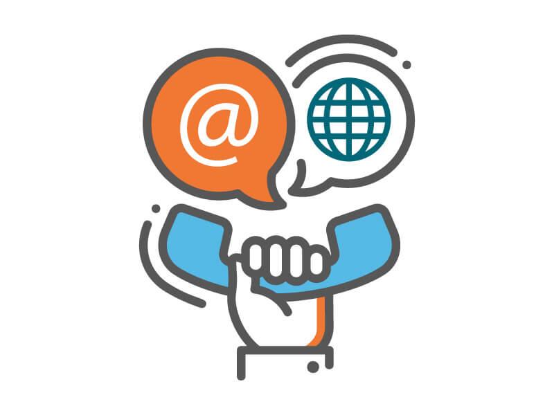 """Icon """"Kontakt"""": Hand hält Telefonhörer, Sprechblasen mit @-Zeichen und Weltkugel"""